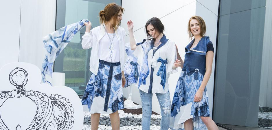 Три девушки в одежде Elisa Cavaletti - платки, джинсы, платье