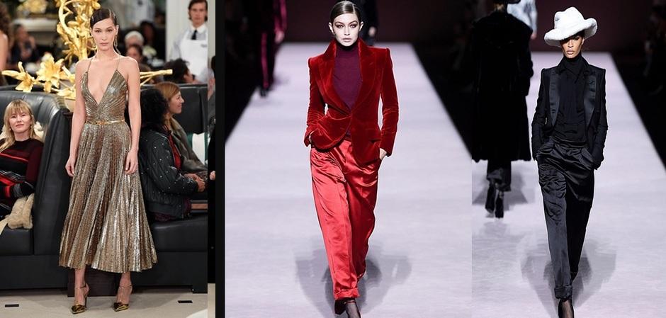Белла Хадид показывала платье от Ralph Lauren, Гиги Хадид наряды от Tom Ford, а Джоан Смоллс успевала на всех показах показть товар и себя