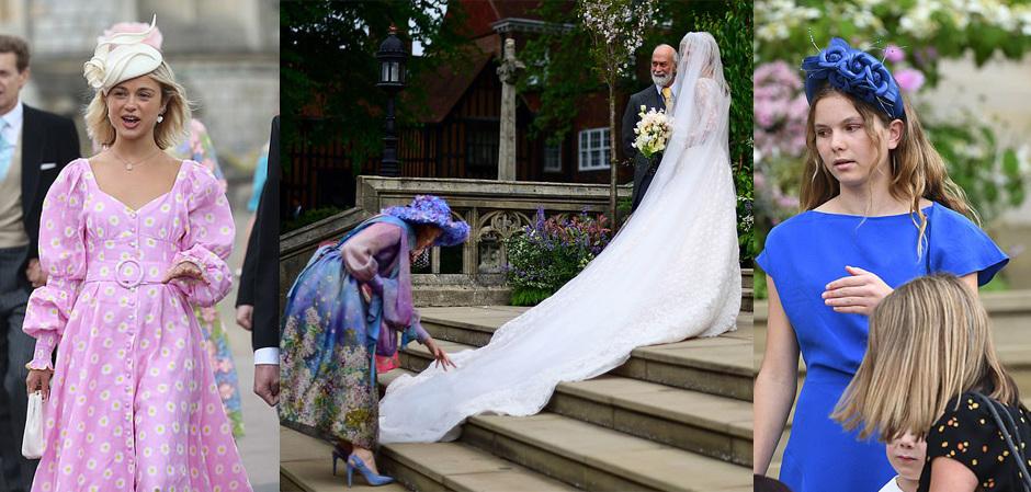 Леди Амелия Виндзор в шляпке, ее сестра-невеста в Русской тиаре, а гостьи выбирали ободки.