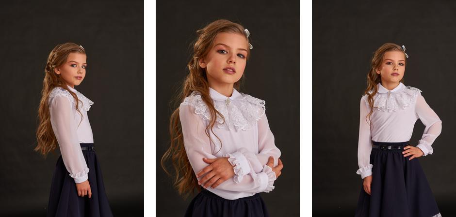 Новая коллекция школьных блузок для девочек от бренда Grazina