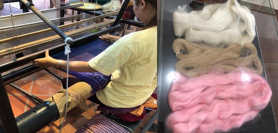 Ручное ткачество из шелка в Камбодже