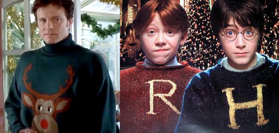 Колин Ферт, Рон Уизли и Гарри Поттер в рождественских свитерах