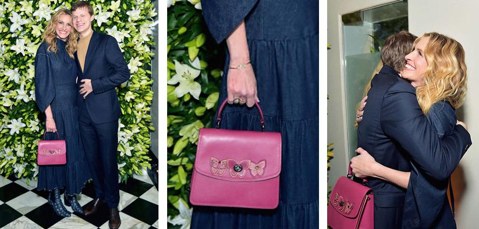 Джулия Робертс с новой ярко-розовой сумкой Parker Top Handle от Coach