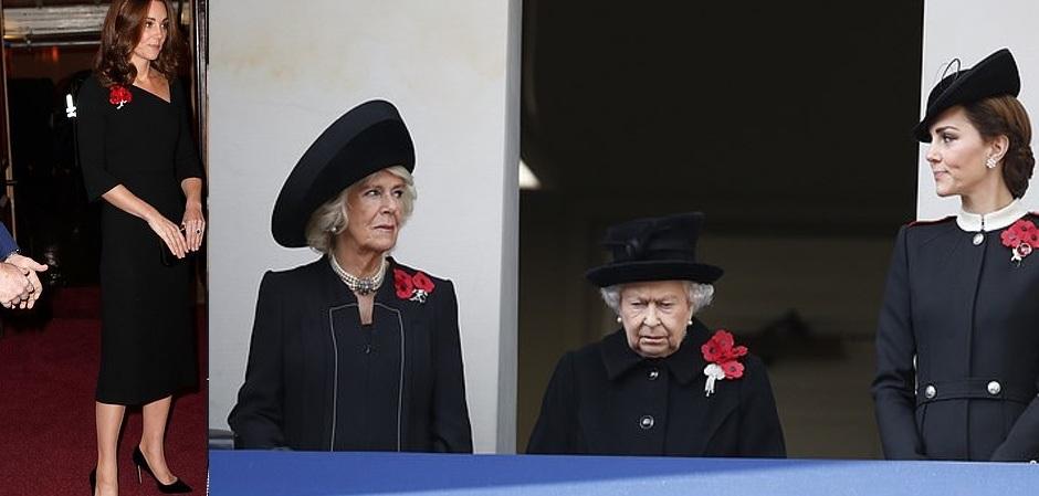 Кейт Миддлтон и Королева Елизавета с маками