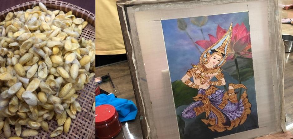 Золотые коконы шелка и роспись по шелку